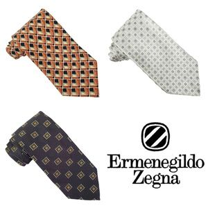Ermenegildo Zegna Tie Lot of 3 Men's Silk Neckties